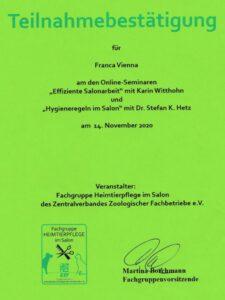 ZZF - Onlineseminar Effiziente Salonarbeit und Hygieneregeln im Salon Nov. 2020